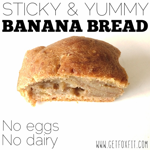 Sticky & Yummy Banana Bread (easy recipe via: getfoxfit)