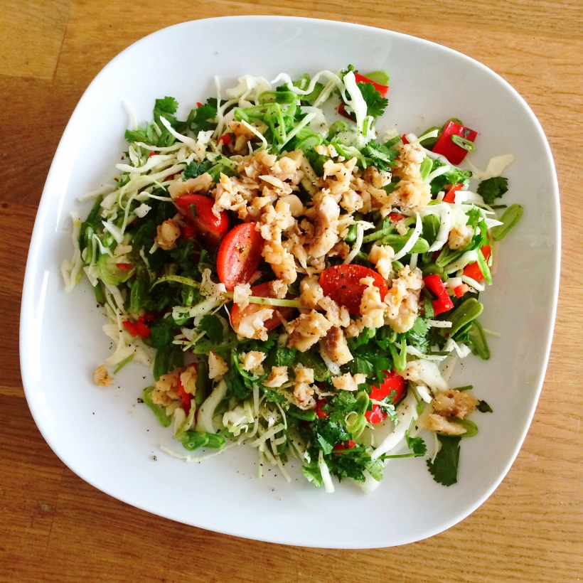 Thai fish salad (clean and healthy) Recipe via: www.getfoxfit.com